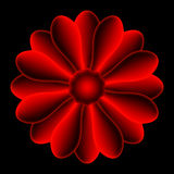 The flower. The red flower shape, centered on black background Royalty Free Stock Image