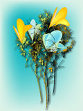 Flower. Abstract yellow flower, background, blue Royalty Free Stock Images