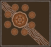 Flower. A illustration based on aboriginal style of dot painting depicting flower Stock Photo