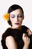 Flower. High key fashion woman in fur coat Stock Images