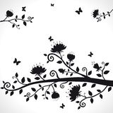 Flower. Vector silhouette of the branch with beautiful flowers Royalty Free Stock Images