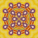 Flower. A illustration based on aboriginal style of dot painting depicting flower Stock Photos