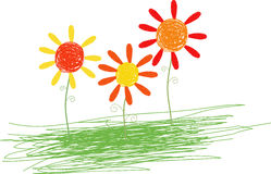 Flower. A children art drawing for flowers Royalty Free Stock Images