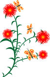 Flower. There is illustration of flower and butterfly Stock Photos