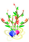 Flower. Vector of plant motive accompanied with real roses Royalty Free Stock Photography