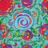 Flower abstract clock seamless pattern Stock Photo