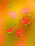 Flower on abstract color background. and metal Royalty Free Stock Photos