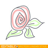 Flower. Abstract icon. Editable vector graphic in linear style Stock Image