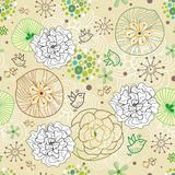 Flower abstract pattern with birds Royalty Free Stock Images