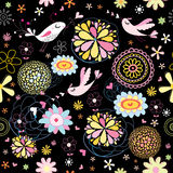 Flower abstract pattern with birds Royalty Free Stock Photography