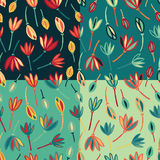 Flower abstract seamless pattern background vector. Floral textile pattern set Royalty Free Stock Photography