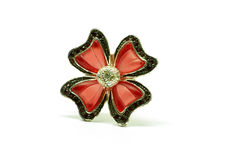 Flower accessories. Red flower accessories with gems on petals royalty free stock photography