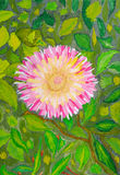 Flower against leaves. Drawing a water color Royalty Free Stock Image