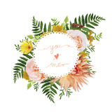 Flower airy wreath bouquet of pink garden Rose, yellow calendula. Primrose orange Dahlia flowers forest fern green leaves greenery. Wedding trendy vector Royalty Free Stock Image