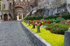 Flower Alley in front of the old castle. Stock Image