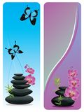 Flower And Zen Stones Banner Royalty Free Stock Images