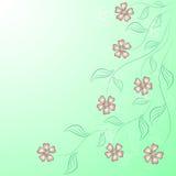 Flower angular frame on the green. Vector vector illustration