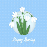 Flower applique card paper flowers snowdrops Stock Photo