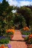 Flower arch in garden, Graz. Summer Garden with flowers in Graz, Austria Royalty Free Stock Photography