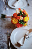 Flower Arrangement. On a served table Stock Photo