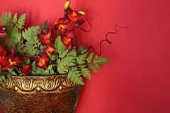Flower Arrangement Against a Red Wall Stock Photography