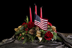 Flower Arrangement with the American Flag Stock Image