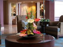 Flower arrangement with anthurium. And other local flowers. Hotel lobby Hawaii Royalty Free Stock Photo