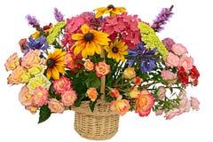 Flower arrangement in a basket stock image