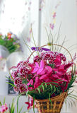 Flower arrangement in a basket. Closeup view Royalty Free Stock Photography