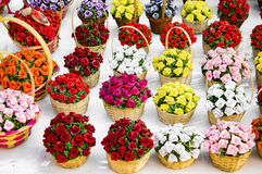 Flower arrangement in baskets Stock Image