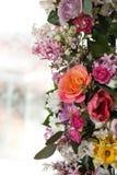 Flower arrangement. Beautiful colored flower arrangement with light background Stock Photos