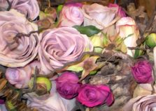 Flower arrangement bouquet roses digital painting Stock Image