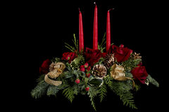Flower Arrangement with Candles Stock Photos