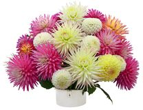 Flower arrangement of chrysanthemums and dahlias Stock Photo