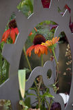 Flower arrangement. Contrast nature - human engineering Stock Images