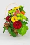 Flower Arrangement of dahlias, gerbera, chrysanthemum, rose, fig Stock Photos