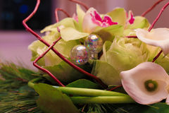 Flower arrangement with decorative silver balls Stock Photo