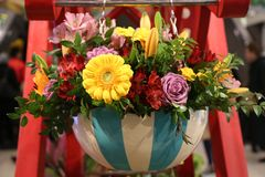 Flower arrangement during famous Macy`s Annual Flower Show in the Macy`s Herald Square Stock Photo