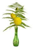 Flower arrangement with ferns and chrysanthemums stock photos