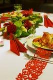 Flower arrangement on festive table Royalty Free Stock Image