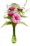 Flower arrangement with fresh ferns and mums Royalty Free Stock Photography