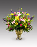 Flower Arrangement on Gray Background Royalty Free Stock Photography