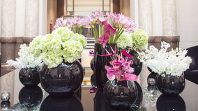 Flower arrangement with hydrangea, anthurias Stock Images