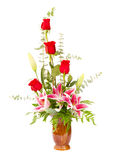 Flower arrangement with lily and roses Stock Image
