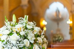 Flower arrangement at Nossa Senhora das Gracas Our Lady of Graces chapel. On Rio de Janeiro Stock Photo