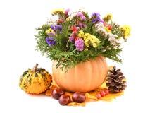 Flower arrangement with pumpkin vase Royalty Free Stock Photography