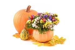 Flower arrangement with pumpkin vase Royalty Free Stock Images