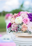 Flower arrangement with roses, dahlia, cloves and hydrangea Stock Image