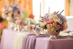 Flower arrangement in silver bowl with pink peonies and hydrangea Stock Image