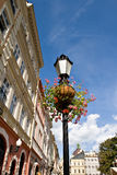 Flower arrangement on street lamp Stock Image